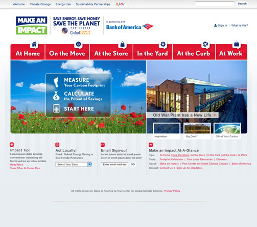 Bank of America homepage
