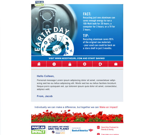 Bank of America Earth day email