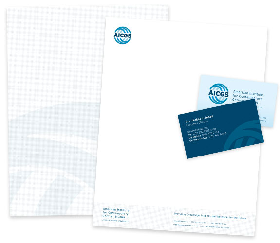 AICGS Print materials: Letterhead, business cards