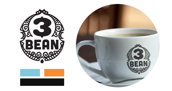 3 Bean Coffee Logo and brand colors