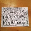 Postcard with handlettering - Ticks can cause serious health problems