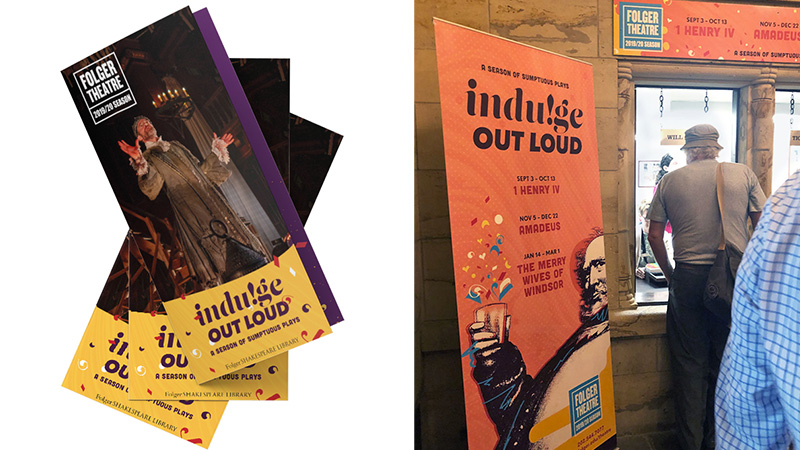 Theatre season design example, brochure and lobby banner