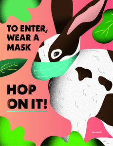 Covid Wear Mask poster with rabbit