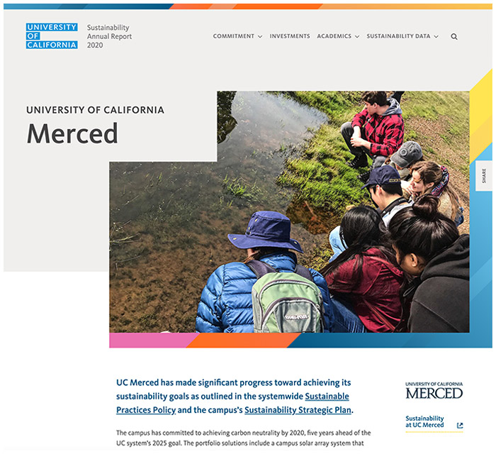 University of California - Sustainability Annual Report - Location page hero banner