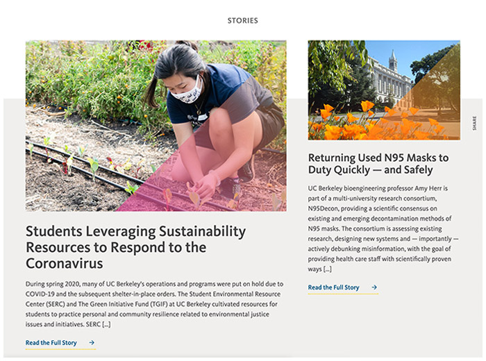 University of California - Sustainability Annual Report - Stories posts
