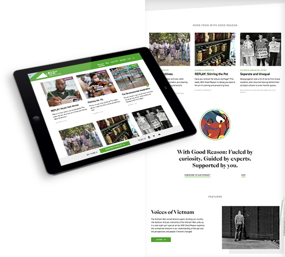 Virginia Humanities - With Good Reason Radio tablet view and page styling